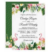 Flamingos Love Tropical Palm Leaves Floral Wedding Invitation
