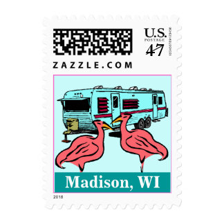 Flamingos Madison WI RVing Trailer Vacation Stamps