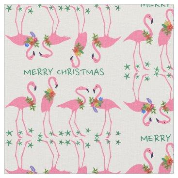Christmas Themed Flamingos Merry Christmas Pattern Fabric