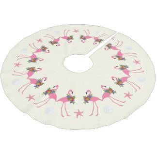 Flamingos n Sand Dollars Tropical Christmas Brushed Polyester Tree Skirt