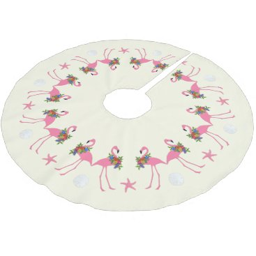 Beach Themed Flamingos n Sand Dollars Tropical Christmas Brushed Polyester Tree Skirt