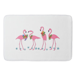 Flamingos n Starfish Tropical Themed Bath Mat