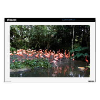 """Flamingos near a small lake 17"""" laptop decals"""