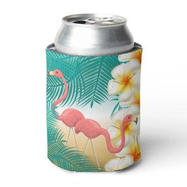 Beach Themed Flamingos on a Teal Tropical Beach Design Can Cooler