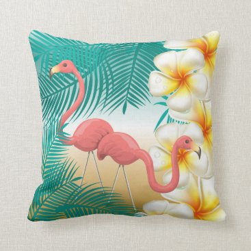 Beach Themed Flamingos on a Teal Tropical Beach Design Throw Pillow