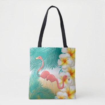 Beach Themed Flamingos on a Teal Tropical Beach Design Tote Bag