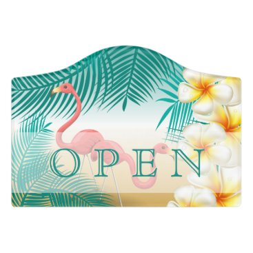 Beach Themed Flamingos on a Teal Tropical Beach Door Sign