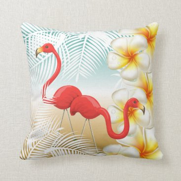 Beach Themed Flamingos on a Tropical Beach Design Throw Pillow