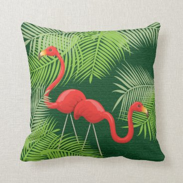 Beach Themed Flamingos on Dark Green with Tropical Palm Leaves Throw Pillow