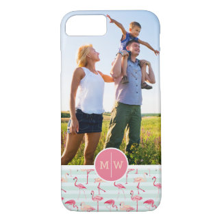 Flamingos On Stripes | Add Your Photo & Monogram iPhone 8/7 Case