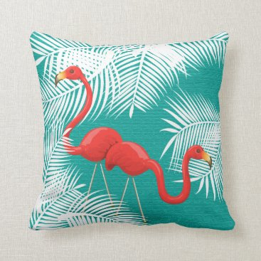 Beach Themed Flamingos on Teal and White Palm Leaves Throw Pillow