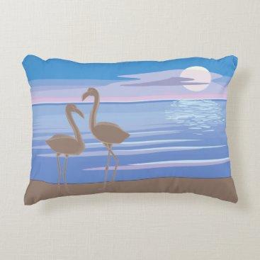 Beach Themed Flamingos on the Beach Accent Pillow