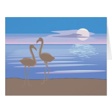 Beach Themed Flamingos on the Beach Big Greeting Card
