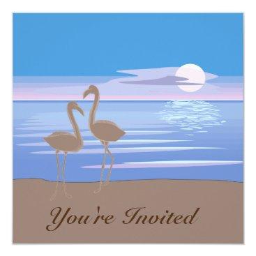 Beach Themed Flamingos on the Beach Custom Invitation -