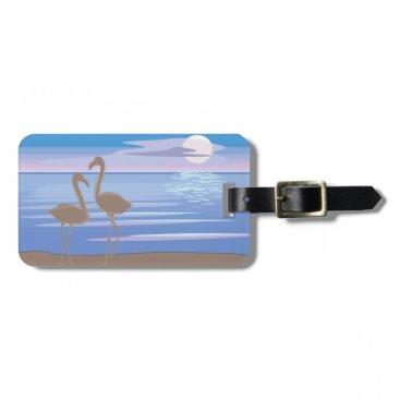 Beach Themed Flamingos on the Beach Luggage Tag