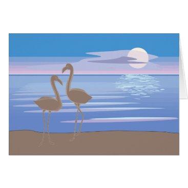 Beach Themed Flamingos on the Beach Note Card