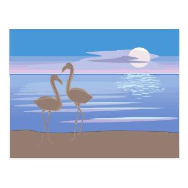 Beach Themed Flamingos on the Beach Postcard