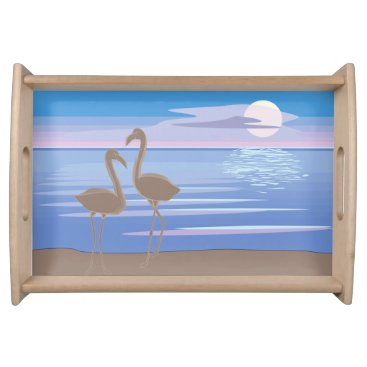Beach Themed Flamingos on the Beach Serving Tray