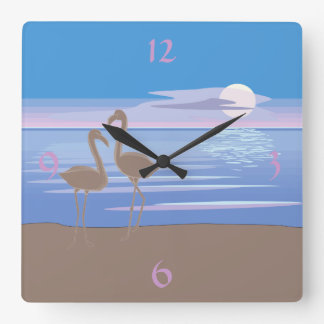 Flamingos On the Beach Square Wall Clock