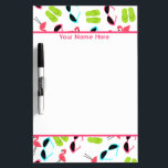 """Flamingos Personalized Medium Dry Erase Board<br><div class=""""desc"""">A dry erase board featuring pink flamingos,  green flip flops,  and retro cat eye sunglasses. Personalize with your name at top.</div>"""