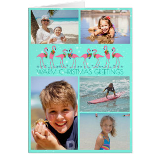 Flamingos Photo Collage Folded Christmas Card
