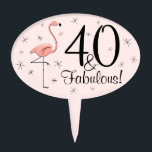 "Flamingos Pink 40 and Fabulous! cake pick oval<br><div class=""desc"">Stylish design with a retro touch featuring a flamingo and stars on a pink background. A customizable design for you to personalise with your own text,  images and ideas. An original digital art image created by QuirkyChic.</div>"