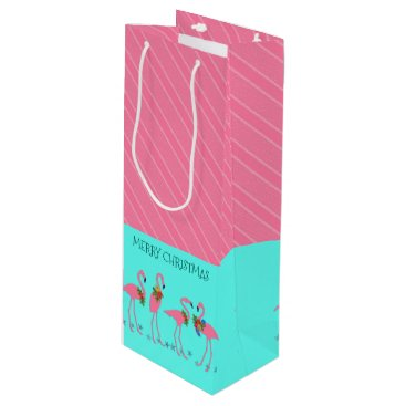 Beach Themed Flamingos Pink Blue Christmas Wine Gift Bag