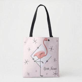 Flamingos Pink diamond name all over tote bag