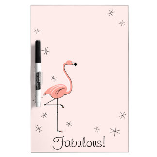 "Flamingos Pink ""Fabulous!"" dry erase board"
