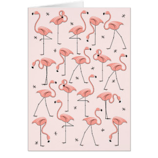 Flamingos Pink greetings card