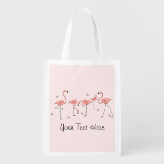 Flamingos Pink Group 'Text' reusable bag