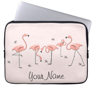 Flamingos Pink Line Name laptop sleeve