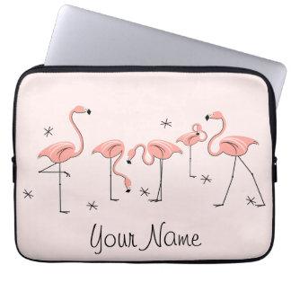 Flamingos Pink Line Name laptop sleeve