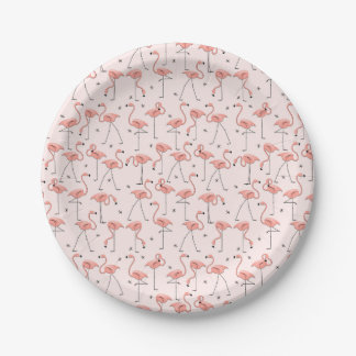 Flamingos Pink paper plate