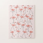"""Flamingos Pink puzzle<br><div class=""""desc"""">Stylish design with a retro touch featuring flamingos and stars on a pink background. A customizable design for you to personalise with your own text,  images and ideas. An original digital art image created by QuirkyChic.</div>"""