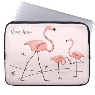 Flamingos Pink Trio 2 Name laptop sleeve