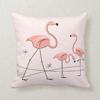 Flamingos Pink Trio 2 square Throw Pillows