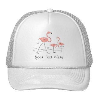 Flamingos Pink Trio 2 'Text' group trucker hat