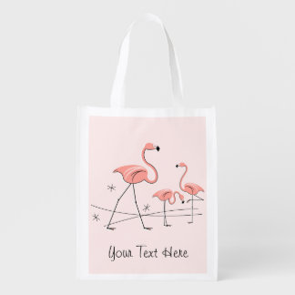 Flamingos Pink Trio 2 'Text' reusable bag