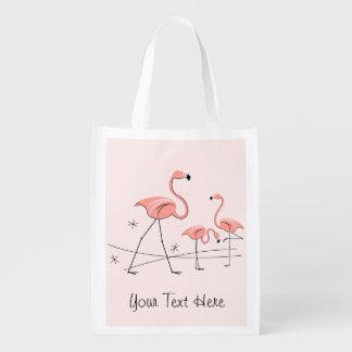 Flamingos Pink Trio 2 'Text' reusable bag Grocery Bags