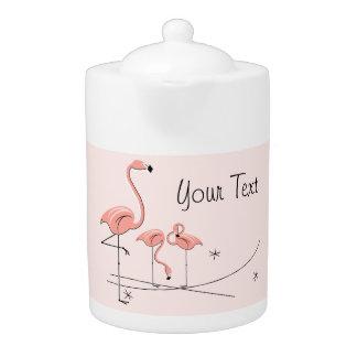 Flamingos Pink Trio 4 Text teapot