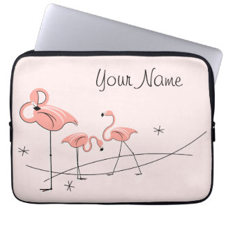 Flamingos Pink Trio Name laptop sleeve