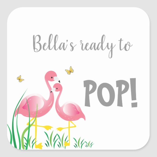 Flamingos Ready To Pop Baby Shower Sticker Zazzle