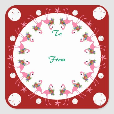 Beach Themed Flamingos Red Beach Christmas To From Gift Label