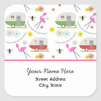 Flamingos & Retro Trailers Address Sticker