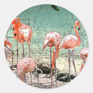 Flamingos Round Stickers