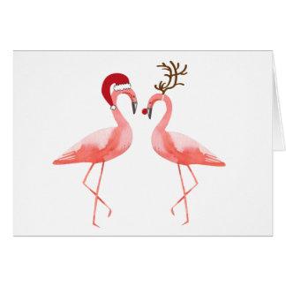Flamingos Santa and Rudolph Christmas Card