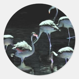 Flamingos Spell Peace Classic Round Sticker