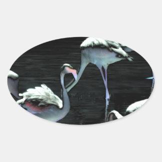 Flamingos Spell Peace Oval Sticker