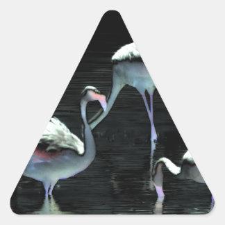 Flamingos Spell Peace Triangle Sticker